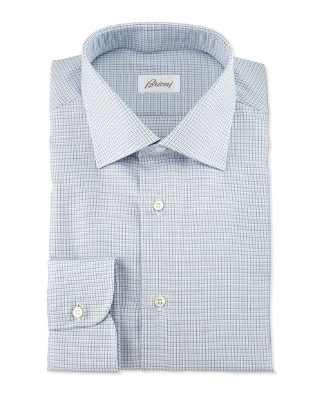 Brioni Textured-Check Long-Sleeve Dress Shirt, Light Blue