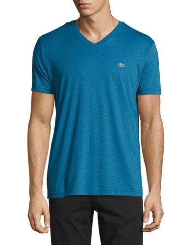 Pima Jersey V-Neck T-Shirt, Officer Blue