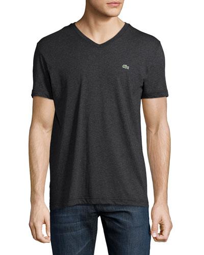 Pima Jersey V-Neck T-Shirt, Panther Black