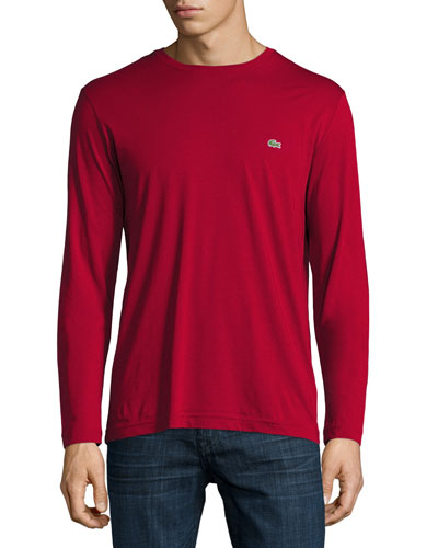 Pima Jersey Long-Sleeve T-Shirt, Bordeaux