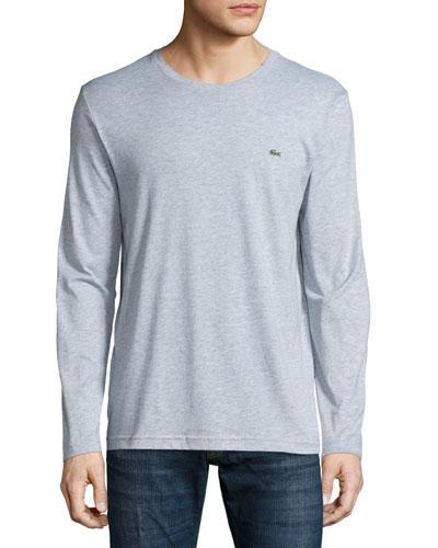 Pima Jersey Long-Sleeve T-Shirt, Silver Gray Chine