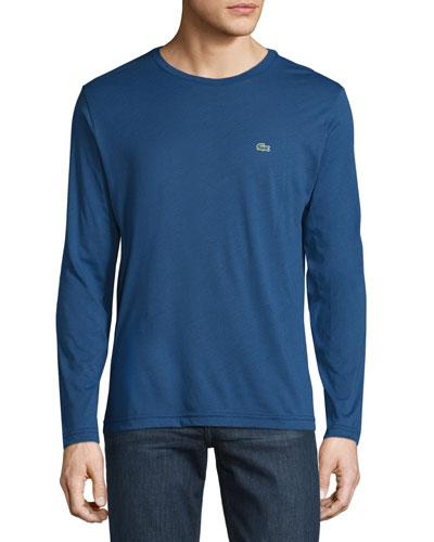 Pima Jersey Long-Sleeve T-Shirt, Waterfall Blue