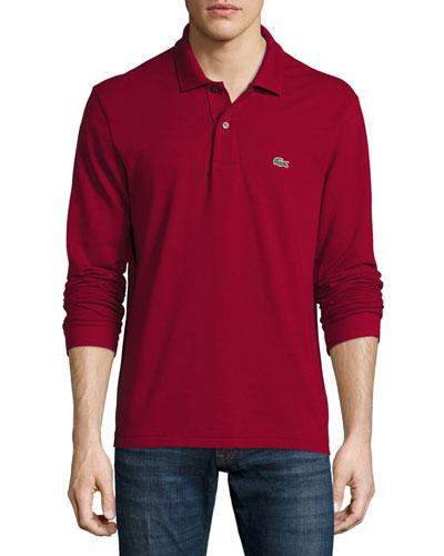 Classic Long-Sleeve Piqué Polo Shirt, Bordeaux