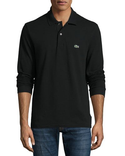 Classic Long-Sleeve Piqué Polo Shirt, Black