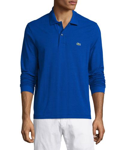 Classic Long-Sleeve Piqué Polo Shirt, Steamship Blue