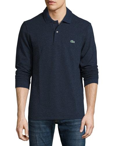 Classic Chine Long-Sleeve Piqué Polo Shirt, Indigo Blue