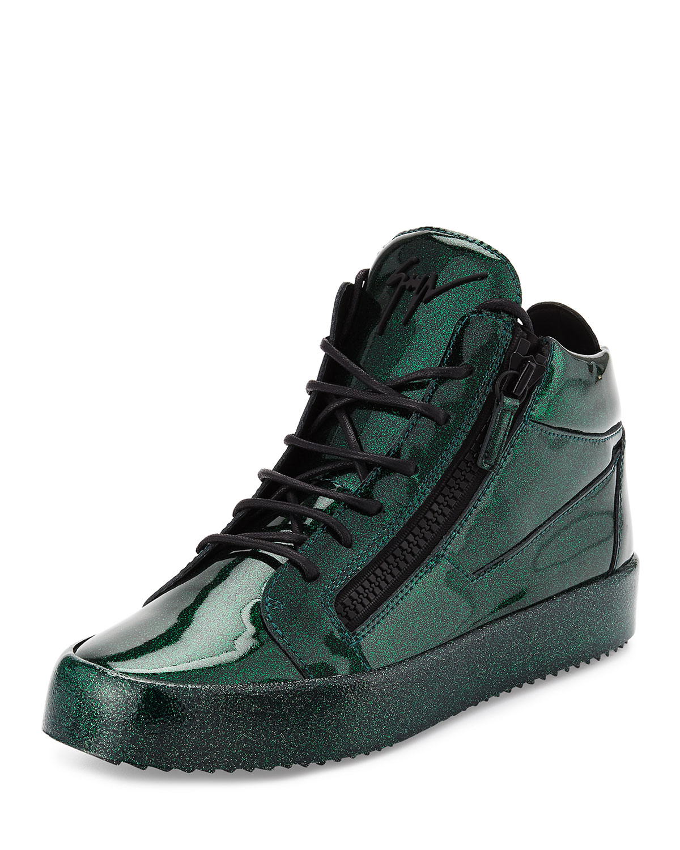 078c0efb3307d Giuseppe Zanotti Men's Glitter Leather Mid-Top Sneaker, Green ...