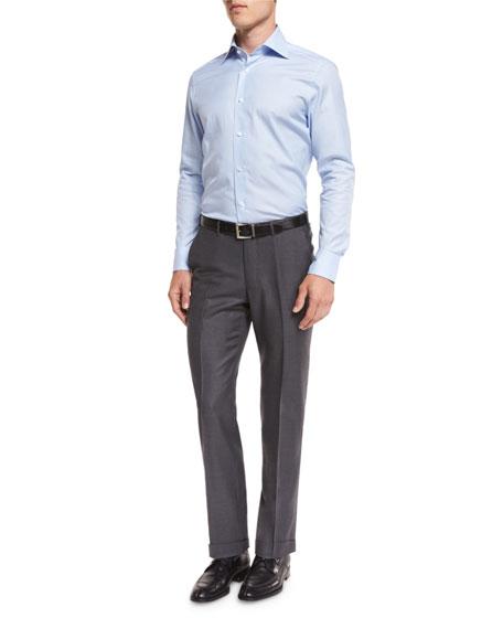 Twill Trofeo Wool Flat-Front Trousers, Gray