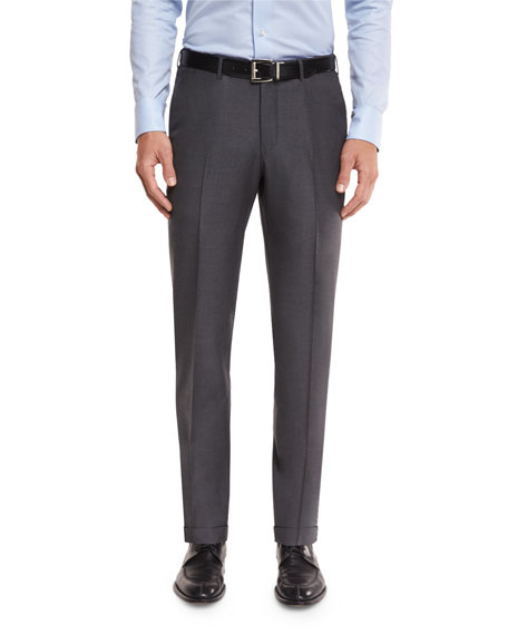 Ermenegildo Zegna Twill Trofeo Wool Flat-Front Trousers, Gray