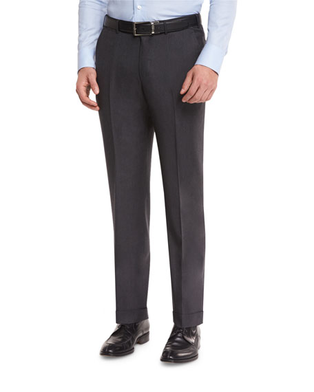 Twill Trofeo Wool Flat-Front Trousers, Charcoal