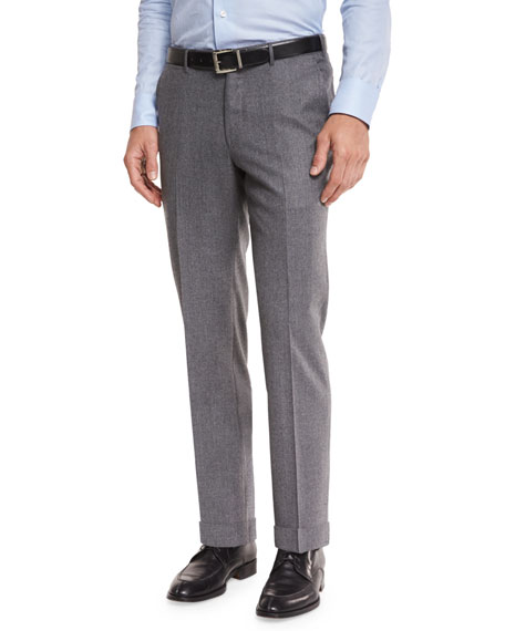 Flannel Flat-Front Trousers, Light Grey