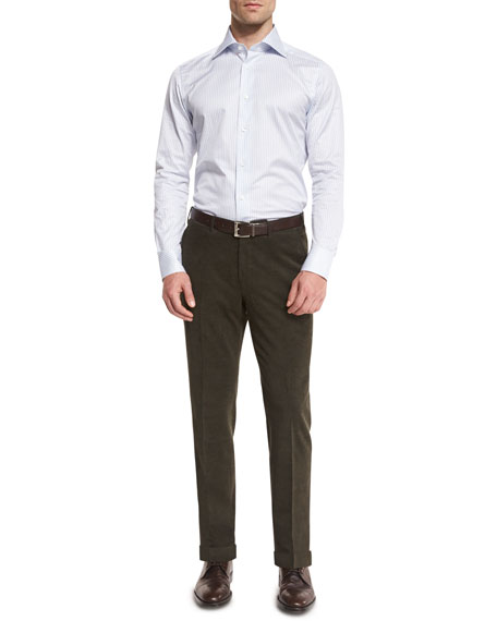 Corduroy Flat-Front Trousers, Olive