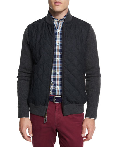 Ribbed Knit & Quilted Bomber Jacket
