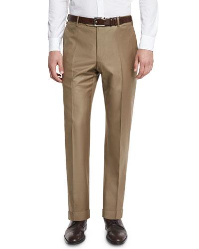 Parker Flat-Front Super 150's Trousers, Khaki
