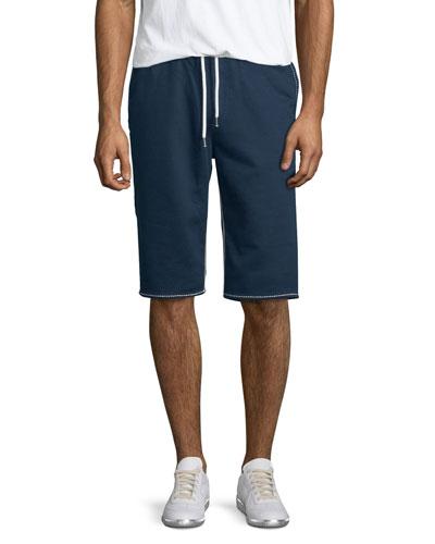 Contrast-Stitch Cutoff Shorts