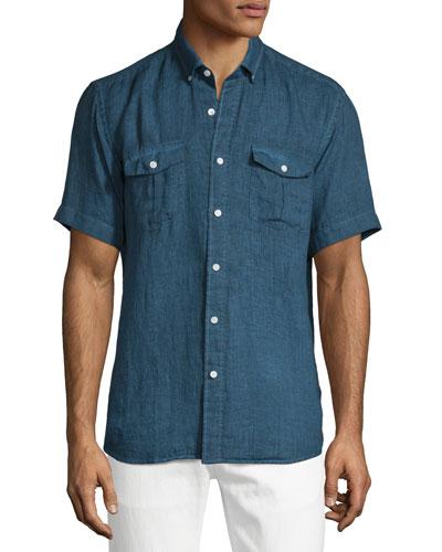 Linen Short-Sleeve Shirt, Navy