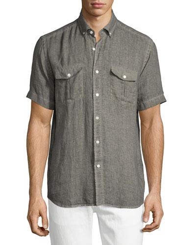 Linen Short-Sleeve Shirt, Brown