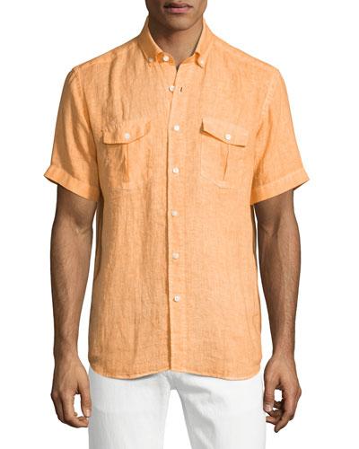 Linen Short-Sleeve Shirt, Orange
