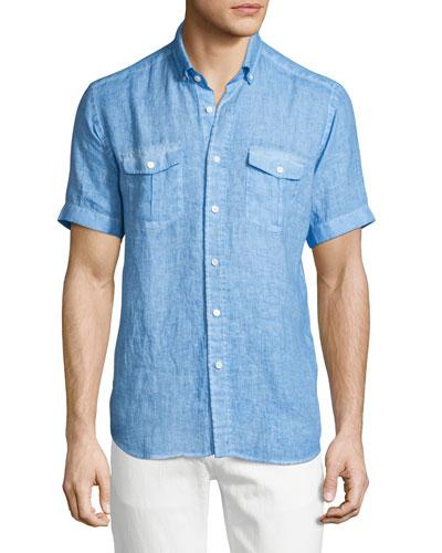 Linen Short-Sleeve Shirt, Blue
