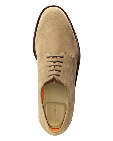 Carter Grand.OS Plain-Toe Suede Oxford, Milkshake (Tan)