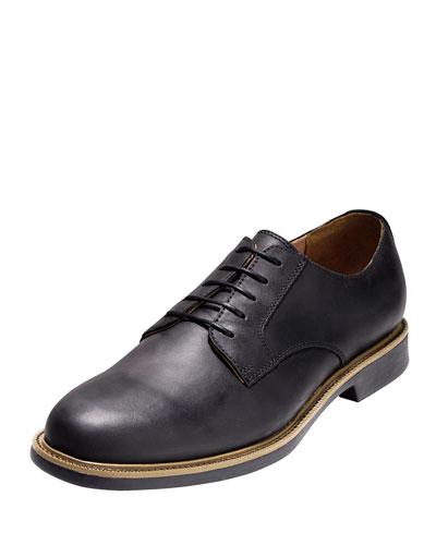 Great Jones Grand.OS Plain-Toe Leather Oxford, Black