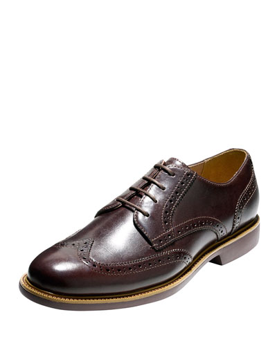 Great Jones Grand.OS Leather Wing-Tip Oxford, Chestnut