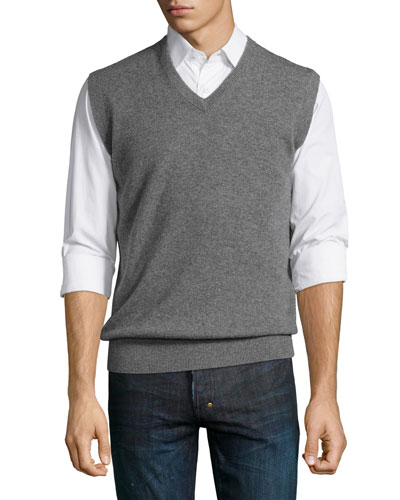 Cashmere V-Neck Sweater Vest, Flannel