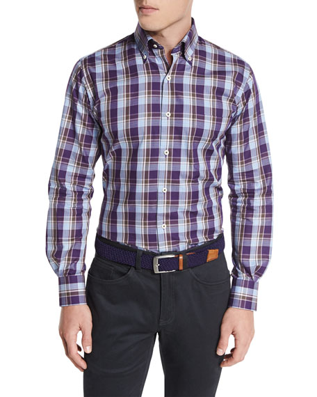 Peter Millar Autumn Plaid Oxford Shirt, Snap Dragon