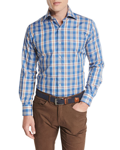 Peter Millar Teton Plaid Oxford Shirt, Hawaiian Blue