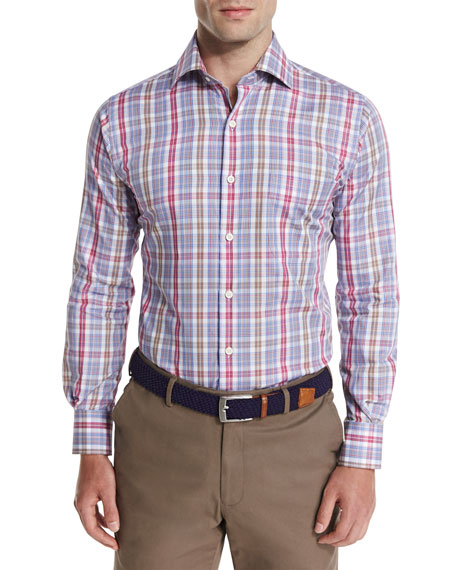 Peter Millar Herron Plaid Oxford Shirt, Pomegranate