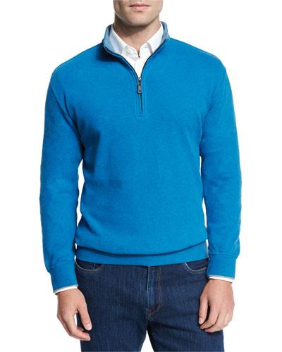 Melange Fleece Quarter-Zip Sweater, Hawaiian Blue
