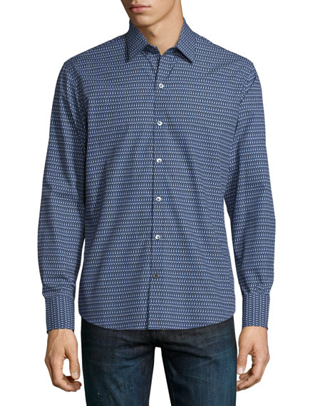 Dot-Print Long-Sleeve Sport Shirt, Navy