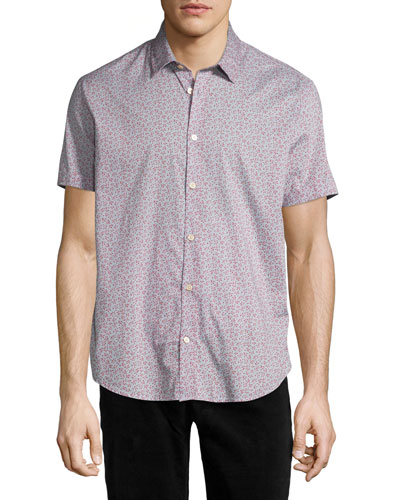 Floral-Print Short-Sleeve Sport Shirt, Blue Pattern