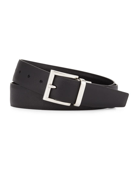 Prada Saffiano/Smooth Leather Reversible Belt