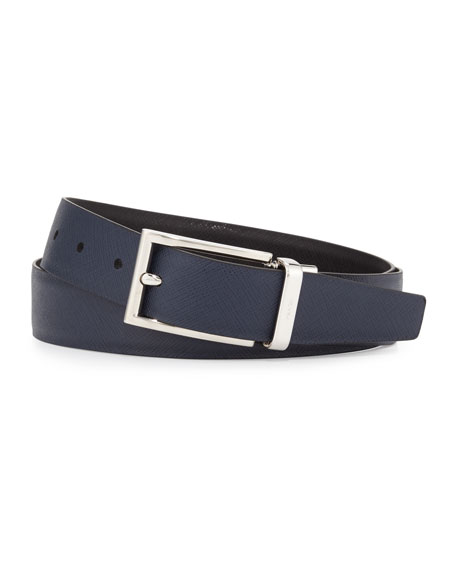 Image 2 of 2: Saffiano Reversible Belt, Black/Blue