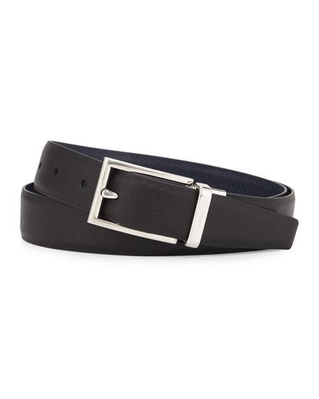 Saffiano Reversible Belt, Black/Blue