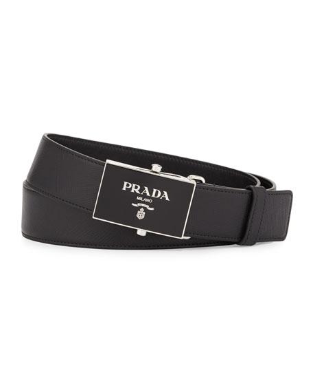 Prada Saffiano Leather Plaque Belt