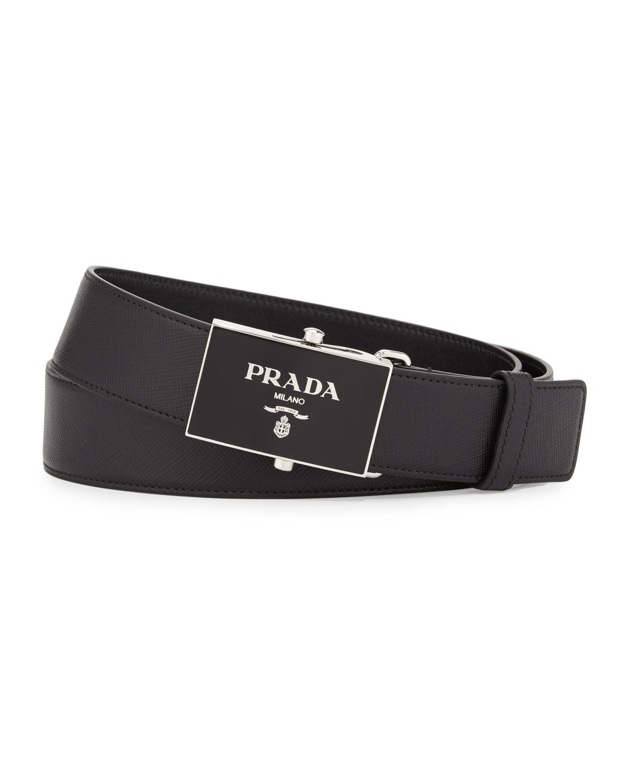 Leather logo plaque belt Prada D0fuA8f4h