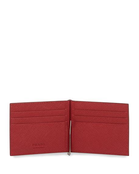 Saffiano Leather Contrast-Corner Money Clip