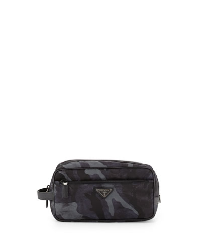 Camo-Print Nylon Dopp Kit, Blue