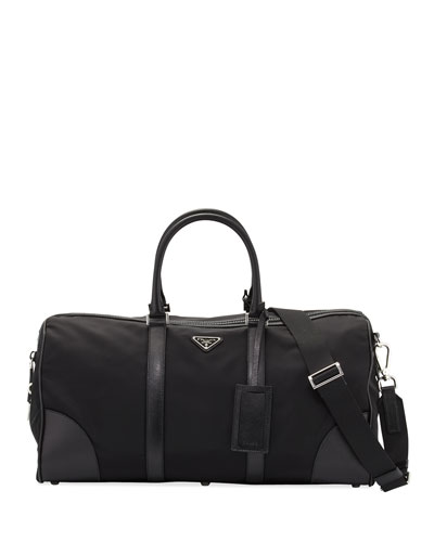Men's Nylon & Saffiano Duffel Bag, Black (Nero)