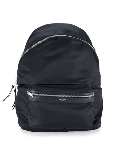 Men's Solid Nylon Backpack, Black
