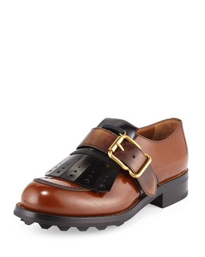 Kiltie Fringe Single-Monk Oxford Shoe, Tabacco/Black