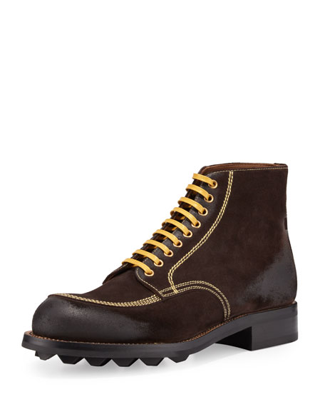 Prada Contrast-Stitch Suede Lace-Up Boot, Brown/Yellow