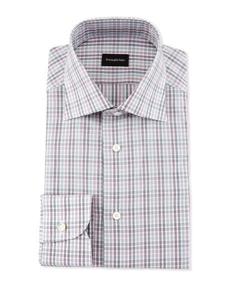 Multicolor Soft Check Dress Shirt, Burgundy