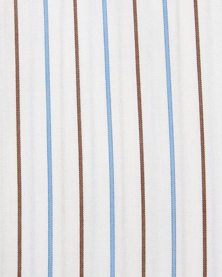 Alternating Striped Dress Shirt, Light Blue