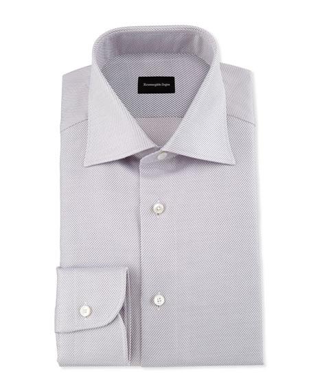 Ermenegildo Zegna Diagonal-Stripe Twill Dress Shirt, Pink