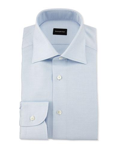 Diagonal-Weave Twill Dress Shirt, Light Blue