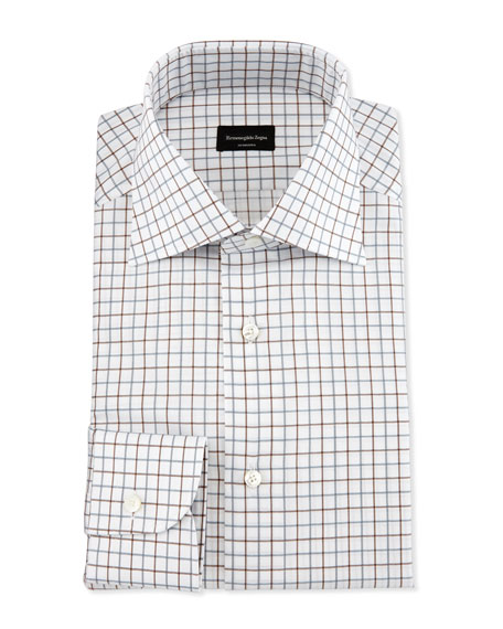 Multicolor Box-Check Dress Shirt, Brown/Blue