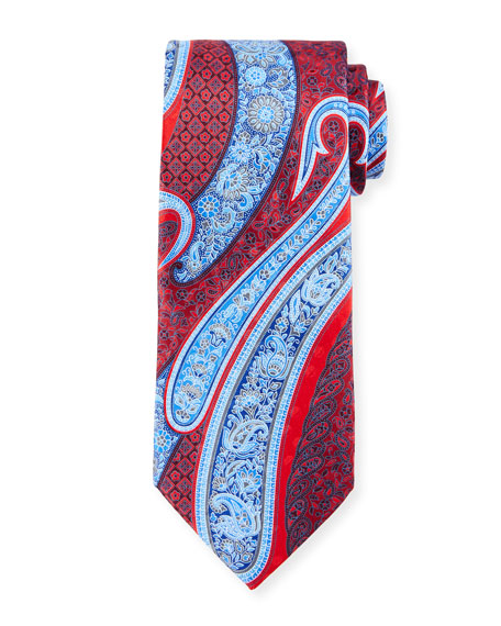 Paisley-Print Silk Tie, Red